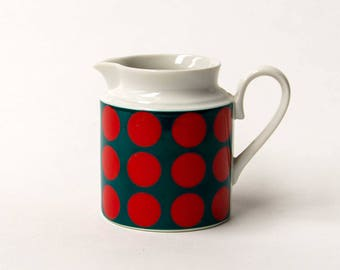 Schumann Bavaria, 1960s Op Art Creamer - Red & Green Polka Dots