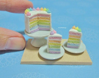 Dollhouse Miniature Pastel Rainbow Cake