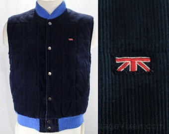 Mens Small Blue Vest - 1970s Corduroy Men's Vest by Brittania - Sleeveless Puffy Jacket - Quilted Cotton - Fall 70s 80s - Chest 40 - 47151