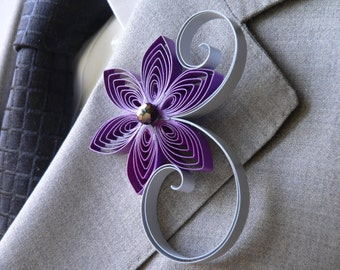 Royal Purple and Silver Wedding Boutonniere, Royal Purple Boutonniere, Silver Boutonniere