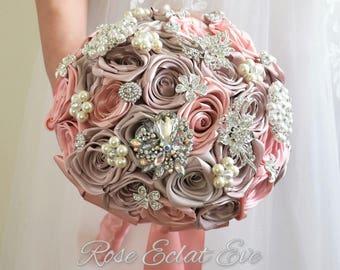 Brooch bouquet Pink and grey bridal bouquet Vintage bouquet, Satin flowers bouquet