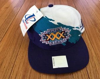 Vintage 90s Super Bowl XXX 30 Logo Athletic Deadstock Splash Snapback Hat