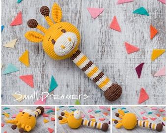 Giraffe rattle Crochet rattle Baby rattle toy Cotton crochet toy Baby gift Organic teether Baby Shower gift Baby teething toy Newborn gift