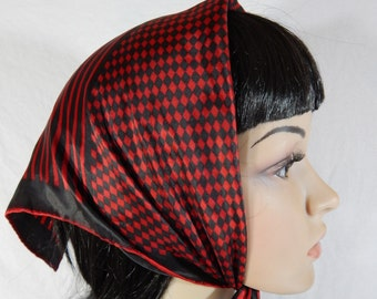 """1960's Back & Red Checked SCARF 19"""" x 19"""" handrolled edges"""