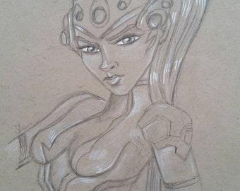 Widowmaker pencil sketch art illustration