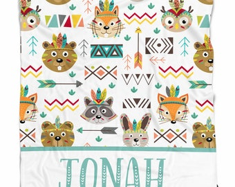 Personalized baby blanket with tribal animals