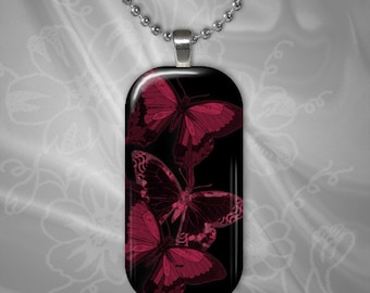 Red Butterflies on Black Glass Tile Pendant with chain(CuBuR3.7)