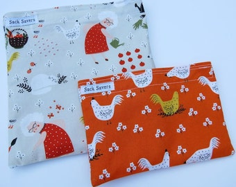 Reusable Sandwich Bag and Snack Bag Set Gardening Chickens Sandwich Snack Bag