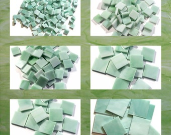 Mint Green Squares Stained Glass Mosaic Tiles Opal Hand Cut Spectrum