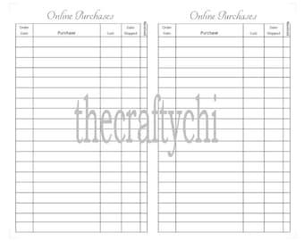 Online Purchases Tracker for TN, Traveler's Notebook, Midori- Passport digital download Printable
