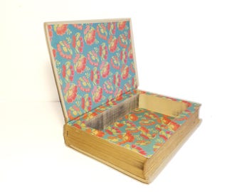 Hollow Book Safe Hawaii Cloth Bound vintage Secret Compartment Keepsake Box Hidden Security Box