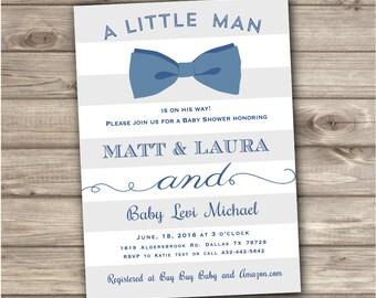 Bowtie Baby Shower Invitations Little Man  Invitations Navy Blue Boy Invitations Rustic Oh Boy Boy Shower Invitations Bow Tie NV618