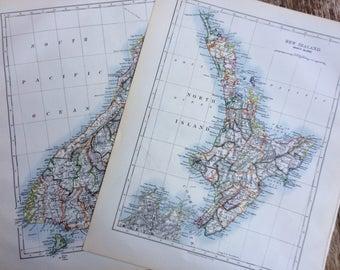 1899 NEW ZEALAND Original Antique W & A.K Johnston maps x 2, Wall Decor - Home Decor - Gift Idea - North Island - South Island - NZ