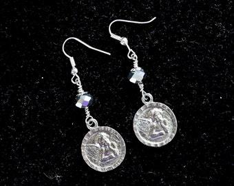 Vintage Earring Assemblage, Silver Pierced French Hook Angel Cherub Cupid Valentine Unique Reclaimed Jennifer Jones, OOAK - Angel Daydreams