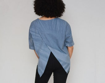 Easy Shirt Pattern, Women's Sewing Pattern, PDF Shirt Blouse Top Pattern, Summer Shirt Sewing,  Open Vent Back top PDF print at home pattern