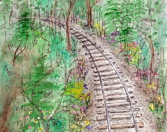 Tracks In The Woods, Print of Original Watercolor Landscape Painting, watercolor art, watercolor print, railroad art, home decor wall art