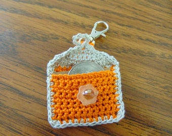Gray and orange Crochet Keychain Quarter Keeper