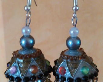 Bohemian earrings / Quilling and pearls / jhumkas