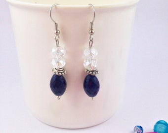 Black and Clear Bead Dangle Earrings