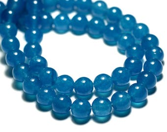 10pc - beads - Jade 8mm blue balls - 8741140016675
