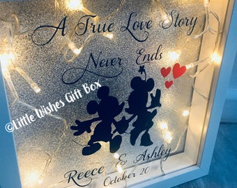 True love story photo box frame, freestanding or wall hung, shadow light up 3D box frame, Wedding / Engagement couples gift