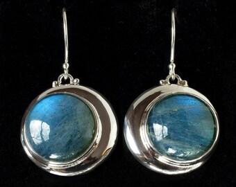 Labradorite Crescent Moon Earrings, Sterling Silver Crescent Moon Earrings, Sterling Silver Labradorite Moon Earrings, Moon Jewelry: ECLIPSE
