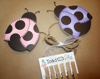 Lilac and Pink Ladybug Girls Wooden Wall Art DISPLAY CLIPS for Kids Bedroom Baby Nursery Playroom AC0027
