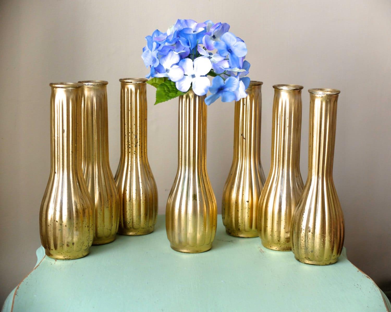 Beautiful Set Of 7 Metallic Yellow Distressed Gold Tall Vases