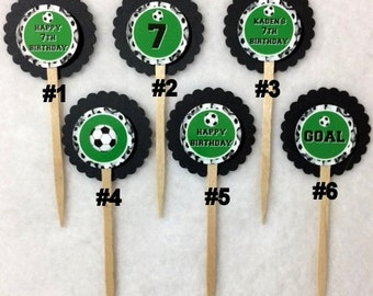 Set Of 12 Personalized 7th Birthday Party Soccer Cupcake Toppers (You Choice Of Any 12)