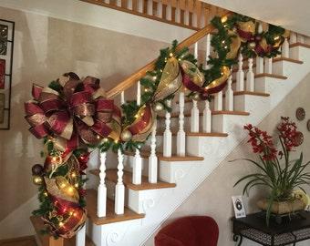 Wonderful Christmas Stairway Garland U0026 Post Swag Set,SHIPPING INCLUDED Old World,  Mesh, Elegant