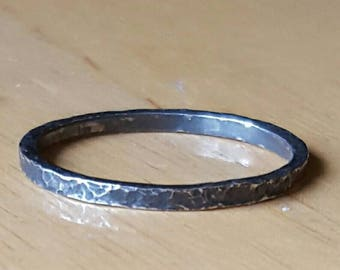 Oxidized and hammered silver ring size 13