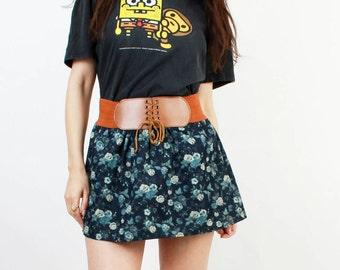 SALE ! Floral Mini Skirt / Mini Skirt / Summer Skirt / Rose Print Skirt / Blue  / Cotton Skirt / Girly Skirt / Romantic Skirt / Size S