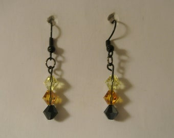 Light Brown, Brown and Black Beaded Earrings on Black Fishhook
