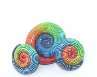 Polymer Clay colorful beads with unique stripes, elegant gradient spiral beads in rainbow colors, set of 3 Ombre beads for Jewelry making