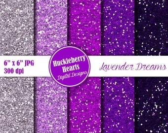 Digital Glitter Paper, Purple and Lavender Glitter Paper, Glitter Paper, Glitter Texture