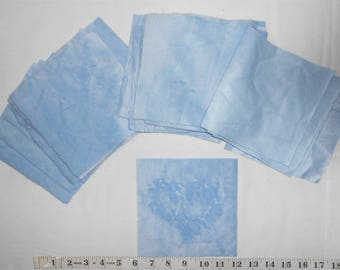 "Fabric -Soft Blue Minkie/Minky Precut Squares -(32ct- 6"" x 6"" squares)  This Minkie is soft on one side. Perfect for a baby blanket."