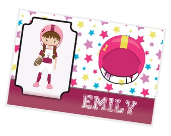 Sports Personalized Placemat - Sports Girl Stars Solid Bar Name with Name, Customized Laminated Placemat