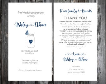 Mason Jar with Butterfly Wedding Ceremony Programs- Price includes printing