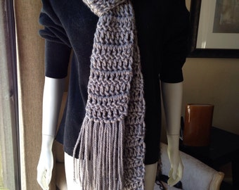Chunky gray long fringe scarf warm and cozy super long