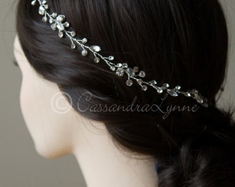 Wedding Hair Halo Wreath Vine Circlet Hand-Wired Rhinestones Silver Bridal Hair Accessory Wrap 22 inches
