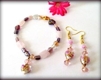 Handcrafted Pink Flower Lampwork Beaded Heart Charm Bracelet and Earrings Set