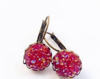 Cranberry faux druzy lever back earrings.