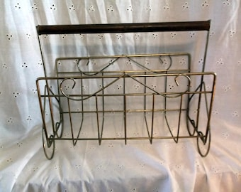 Vintage Mid Century Brass and Wooden Magazine Rack with Wooden Handle MCM
