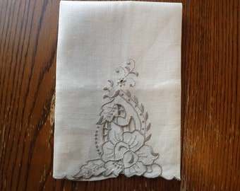 Antique Linen Finger Towel With Hand Embroidered Cut Work