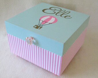 Keepsake Box,  Memory Box, Storage Box, Hot Air Balloon Keepsake Box, Pink, Mint and Gold Personalized Keepsake Box - Shower Gift