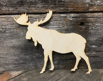 Moose, wood, unfinished wood, craft, kids craft, party favor, last cut, kids decor, animal, sign, animal sign, home decor, wall decor
