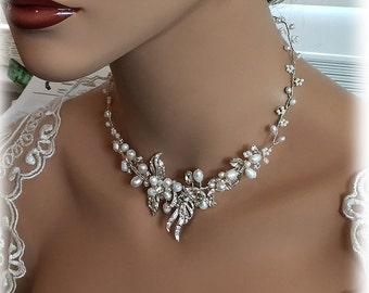 Bridal jewelry set, bridal necklace, Wedding jewelry, pearl jewelry set, Fresh water pearl necklace, wedding necklace, bridal statement set