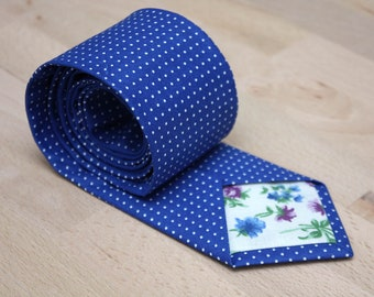 Mens Tie TC205 Blu Polka dots necktie 100%Cotton Men's necktie Boom Bow Gift for him