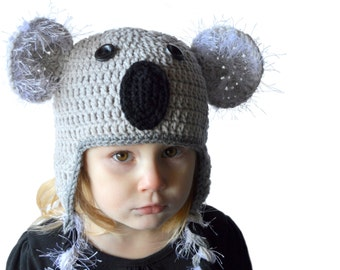 Koala Bear Hat, Gray Bear Knit, Toddler Wild Animal Hat, Bear Ears, Adult Koala Hat, Knit Animal Hat, Crochet Koala, Kids Koala Costume Baby