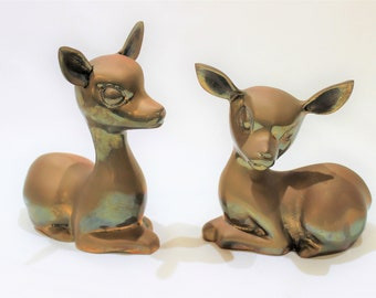 Vintage Handcrafted Pair of Solid Brass Deer Figurines, Vintage Home Decor, Collectible